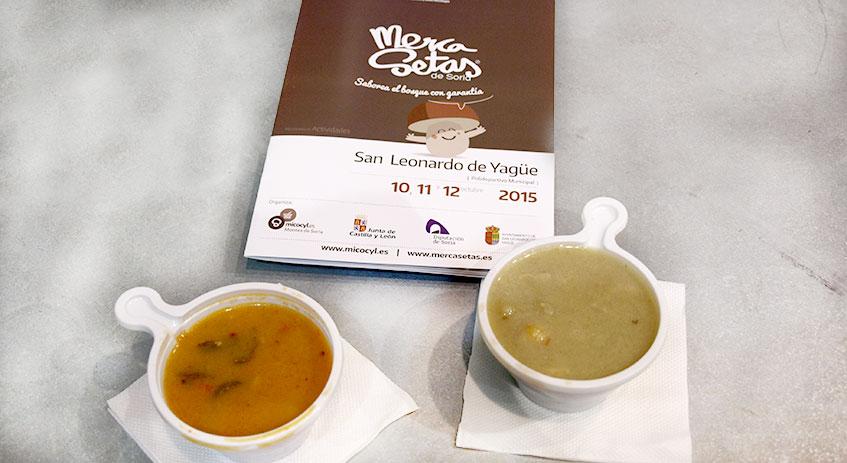Tapas Mercasetas. Patatas con níscalos y garbanzos con boletus elaborados por Juan Carlos Benito de Grumer Catering (Soria)